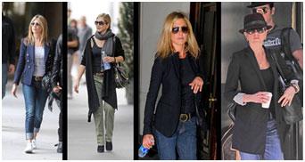 Jennifer Aniston draagt graag basics zoals jeans en blazer